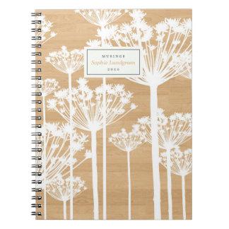 Dandelion Pattern on Wood Personalized Notebook