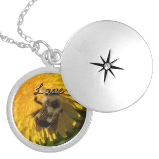 Dandelion Pollenator; Customizable Round Locket Necklace