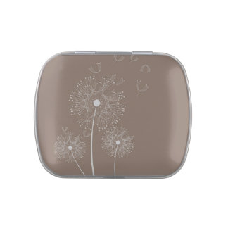 Dandelion puff flowers chocolate brown candy tin