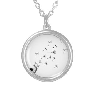 Dandelion puff in the wind silver plated necklace