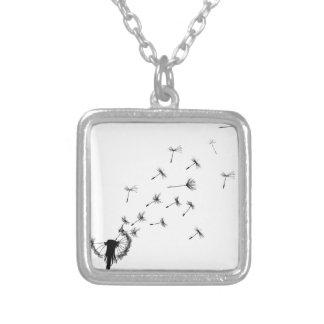 Dandelion puff in the wind square pendant necklace