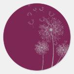 Dandelion pure modern purple flower art classic round sticker