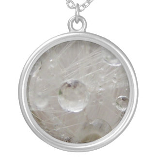 Dandelion Raindrops II Silver Plated Necklace
