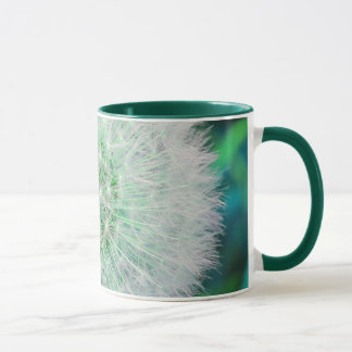 Dandelion seed head mug in turquoise and blue