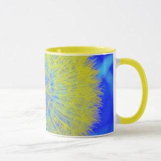 Dandelion seed head mug in yellow and blue