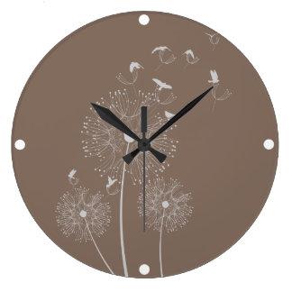 Dandelion Seed Thieves Large Clock