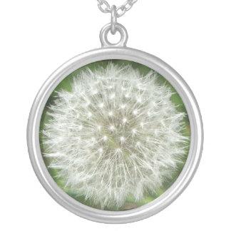 Dandelion Seedhead Round Pendant Necklace
