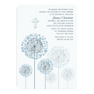 Dandelion Seedlings Blue Religious Invitation