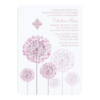 Dandelion Seedlings Pink Religious Invitation