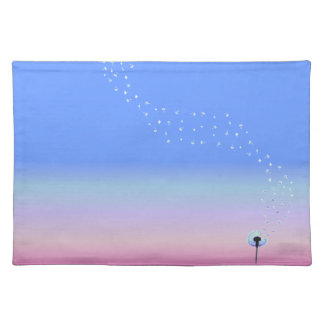 Dandelion Seeds Flying in the Wind - Blue Placemat