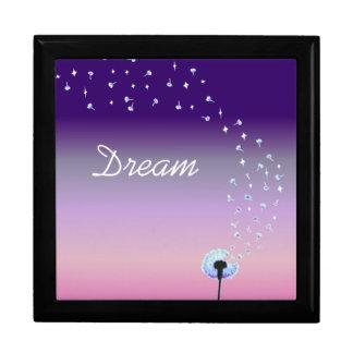 Dandelion Seeds Flying in the Wind - Pink & Purple Jewelry Box