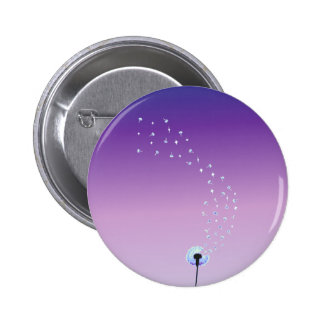 Dandelion Seeds Flying in the Wind - Purple Button