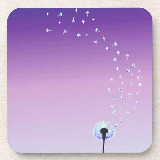 Dandelion Seeds Flying in the Wind - Purple Drink Coaster