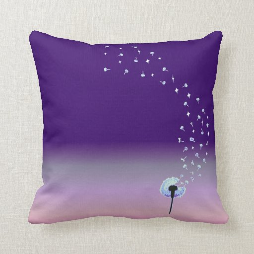 Dandelion Seeds Flying in the Wind - Purple Pillows