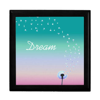 Dandelion Seeds Flying in the Wind - Turquoise Gift Box
