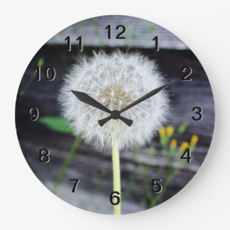 Dandelion Seeds Near Wood Planks. Wall Clock