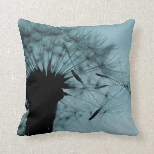 Teal And Black Decorative Pillows : Dandelion Seeds Teal and Black Throw Pillows Zazzle