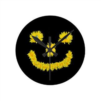 Dandelion Smiley Round Clock