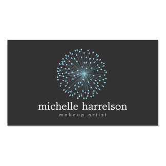 DANDELION STARBURST LOGO in BLUE on DARK GRAY Business Card