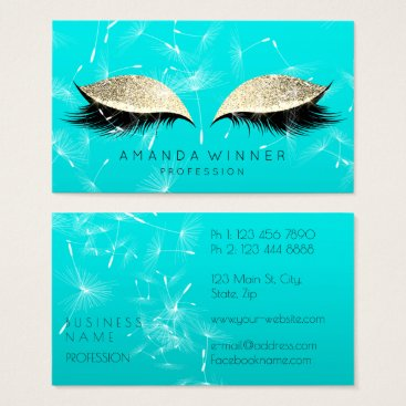 McTiffany Tiffany Aqua Dandelion Tiffany Mint Lashes Makeup Glitter Gold Business Card
