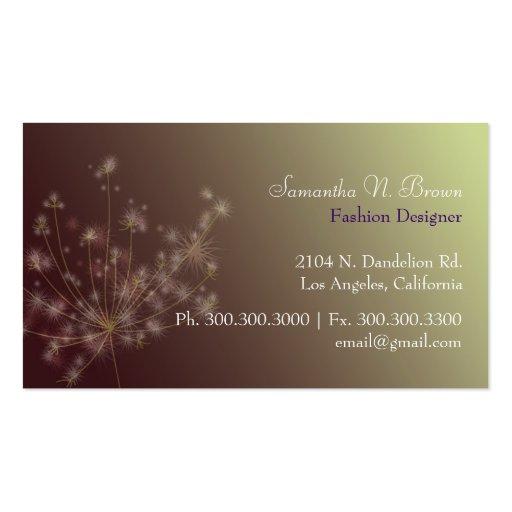 Dandelion Unique Fashion Salon Business Cards (back side)