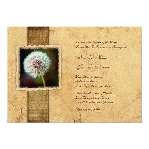 dandelion vintage wedding invitations zazzle