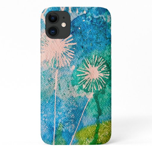 Dandelion watercolor abstract blue and green iPhone 11 case