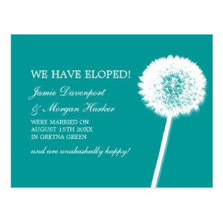 Dandelion White & Teal Elopement Postcard