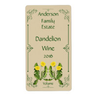 Dandelion Wine Bottle Label with Dark Green Frame