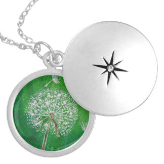 Dandelion Wish, silver locket necklace