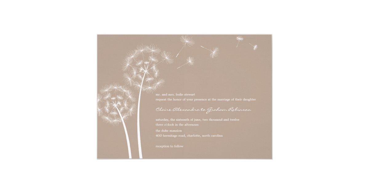 dandelion wish wedding invitations latte zazzle