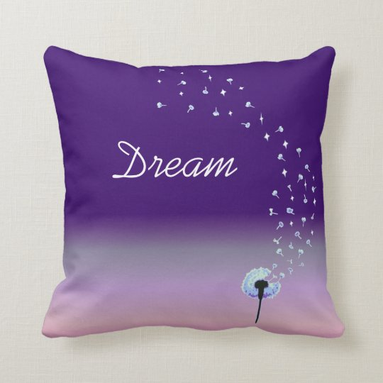 Dandelion Wishes & Dreams - Purple Throw Pillow