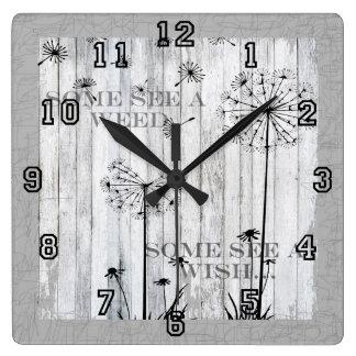 Dandelion Wishes Dreamy Gray Quote Square Wall Clock