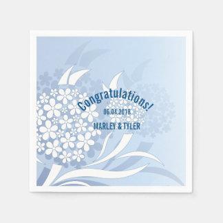 Dandelion Wishes Floral Blue Paper Napkin
