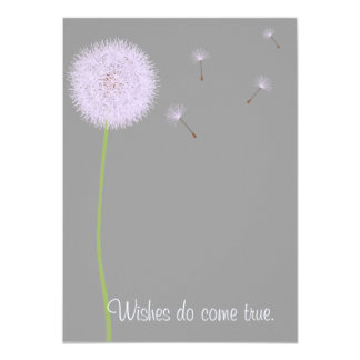 Dandelion Wishes For a Baby Shower in Purples Card