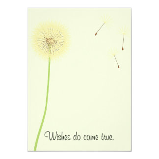 "Dandelion Wishes for a Baby Shower Invitation 4.5"" X 6.25"" Invitation Card"