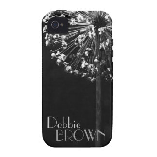 Dandelion Wishes l Silver on Black iPhone 4/4S Covers