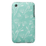 Dandelion Wishes Mint Teal Floral Chic Pattern iPhone 3 Covers