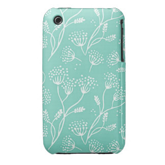 Dandelion Wishes Mint Teal Floral Chic Pattern iPhone 3 Case