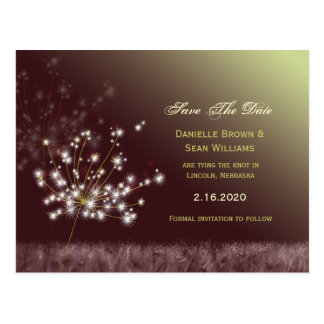 Dandelion Wishes Wedding Save the Date Postcard