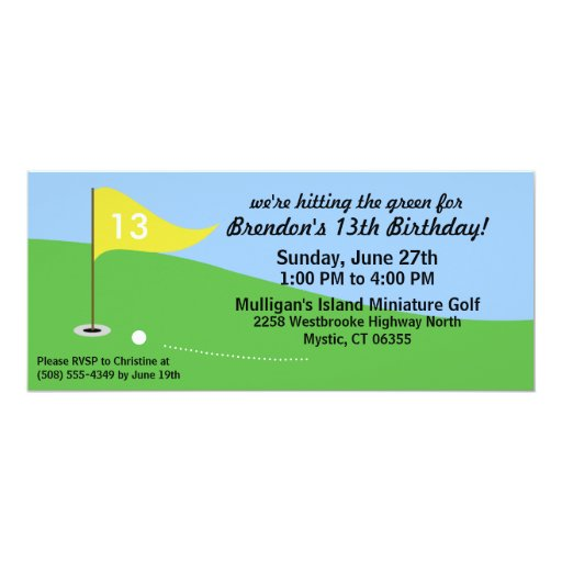 Dandelion Yellow Hit the Green Golf Birthday Party 4x9.25 Paper Invitation Card