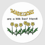 Dandelions Are A Kids Best Friend Tshirts and Gift Round Stickers