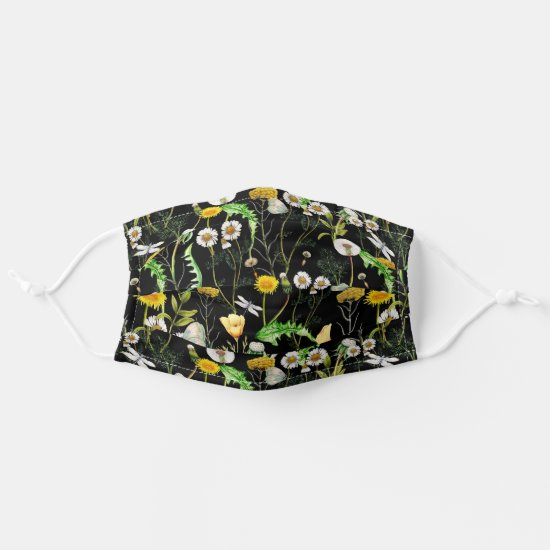 Dandelions, Daisies, Botanicals, Greenery Pattern Adult Cloth Face Mask