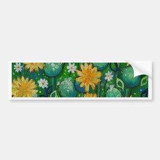 Dandelions, floral image, green bumper sticker