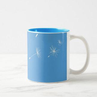 Dandelions flying Two-Tone coffee mug