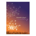 "Dandelions in Sunset, Orange Purple Floral Wedding 5"" X 7"" Invitation Card"
