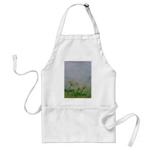 Dandelions in the field apron