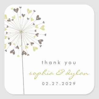 Dandelions Love Brown Hearts Wedding Favor Sticker