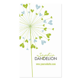 Dandelions Love Hearts Blue Wedding Profile Card Double-Sided Standard Business Cards (Pack Of 100)