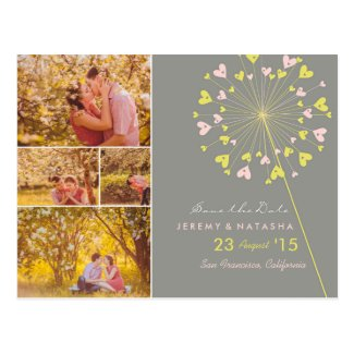 Dandelions Love Hearts Save The Date Wedding Photo Postcard
